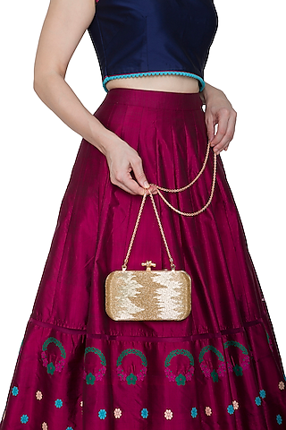 Gold Beads Embroidered Clutch by Durvi