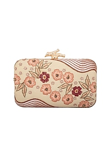 Peach & Cream Embroidered Clutch by GRANDEUR