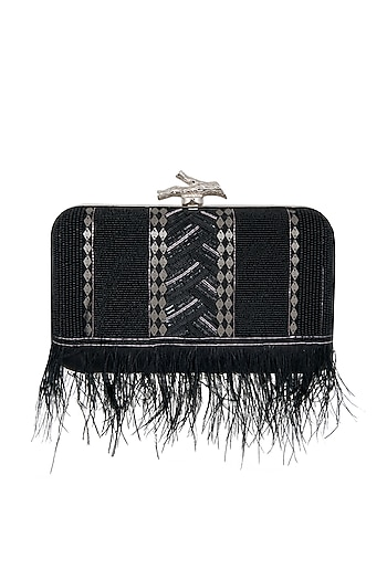 Black Feather Embroidered Box Clutch by Durvi