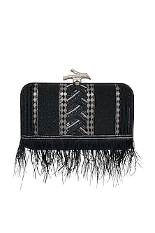 Black Feather Embroidered Box Clutch by GRANDEUR
