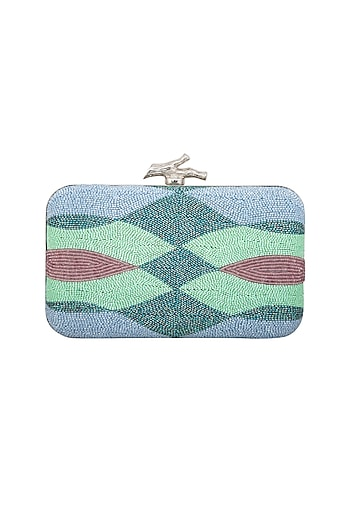 Blue Ombre Embroidered Clutch by Durvi