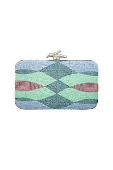 Blue Ombre Embroidered Clutch by GRANDEUR
