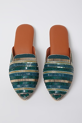 Emerald Green Bead Embroidered Mules by Durvi