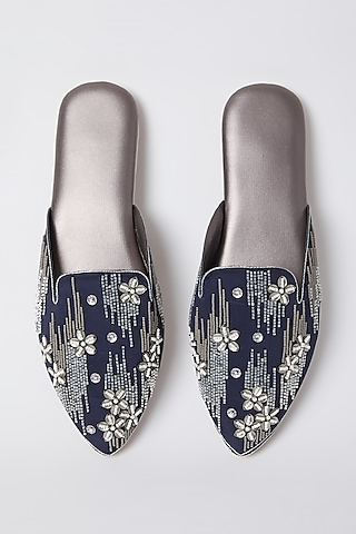 Coal Floral Embroidered Mules by Durvi