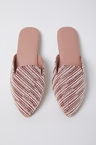 Blush Pink Pearl Embroidered Mules by Durvi