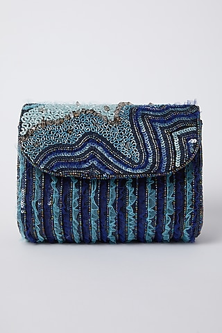 Black Sequins Embroidered Clutch by Durvi