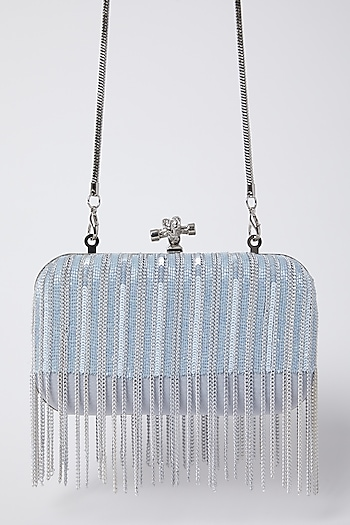 Cloud Blue Embroidered Clutch by Durvi