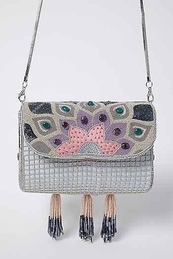 Pearl White Embroidered Clutch by Durvi