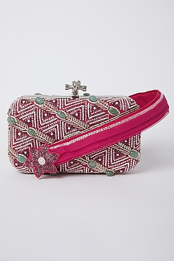 Hot Pink Bugle Bead Embroidered Clutch by Durvi