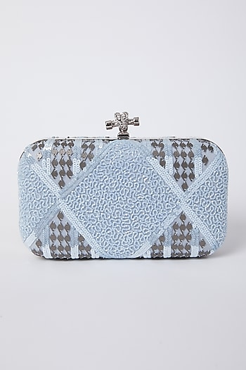 Silver Sequins Embroidered Clutch by Durvi