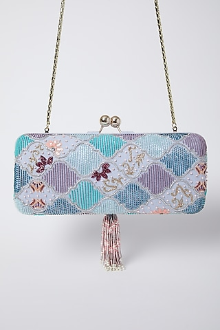 Pearl White & Sky Blue Embroidered Clutch by Durvi