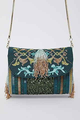 Emerald Green Embroidered Clutch by Durvi