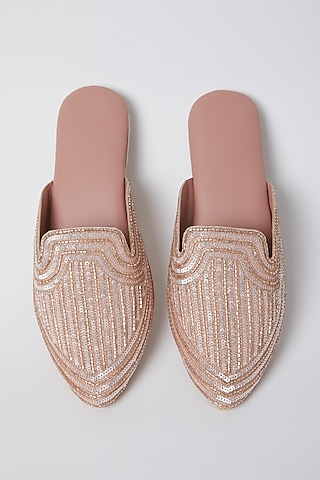 Rose Gold Embroidered Mules by Durvi