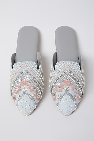 Daisy White Embroidered Mules by Durvi