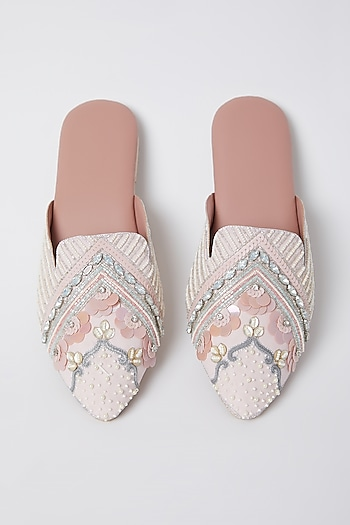 Salmon Pink Embroidered Mules by Durvi