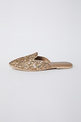Apricot Sequins Embroidered Mules by Durvi