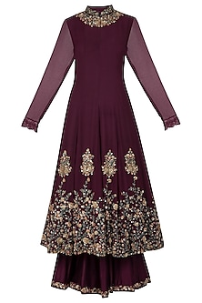Wine Embellished Sharara Set by Garo
