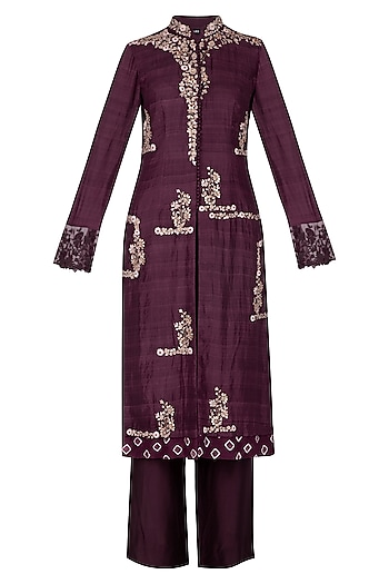 Wine Embellished Straight Kurta With Pants by Garo