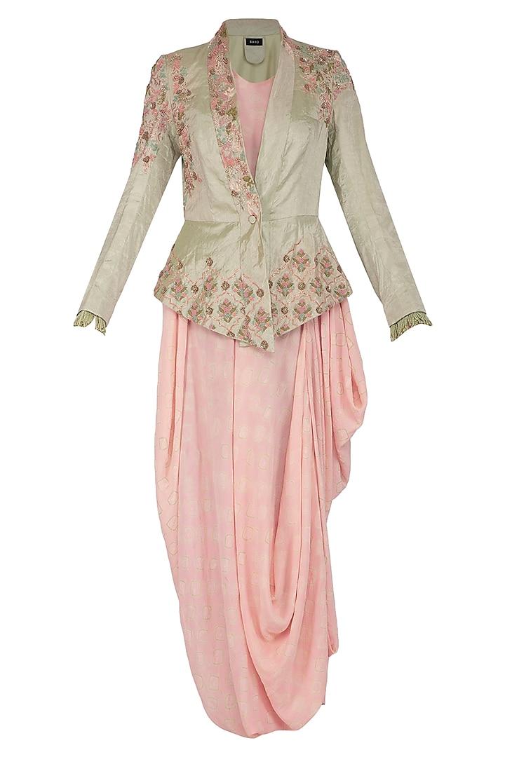Mint Green Peplum Jacket With Bandhani Drape Dress by Garo