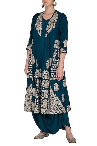 Peacock Blue Long Jacket With Drape Dress by Garo