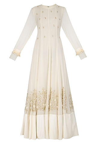 Off White Embellished Kali Gown With Dupatta by Garo