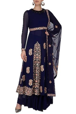 Midnight Blue Embellished Pleated Sharara Set by Garo