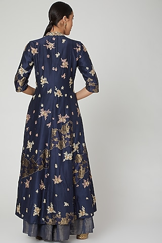 Midnight Blue Embroidered Anarkali With Gharara by Garo