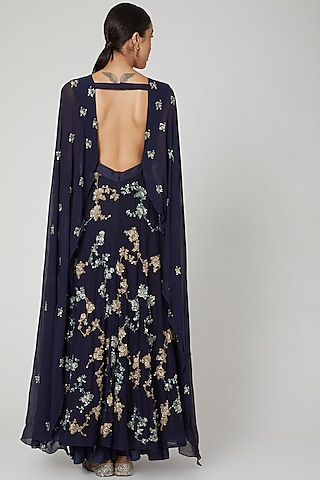 Midnight Blue Embroidered Gown With Cape & Belt by Garo