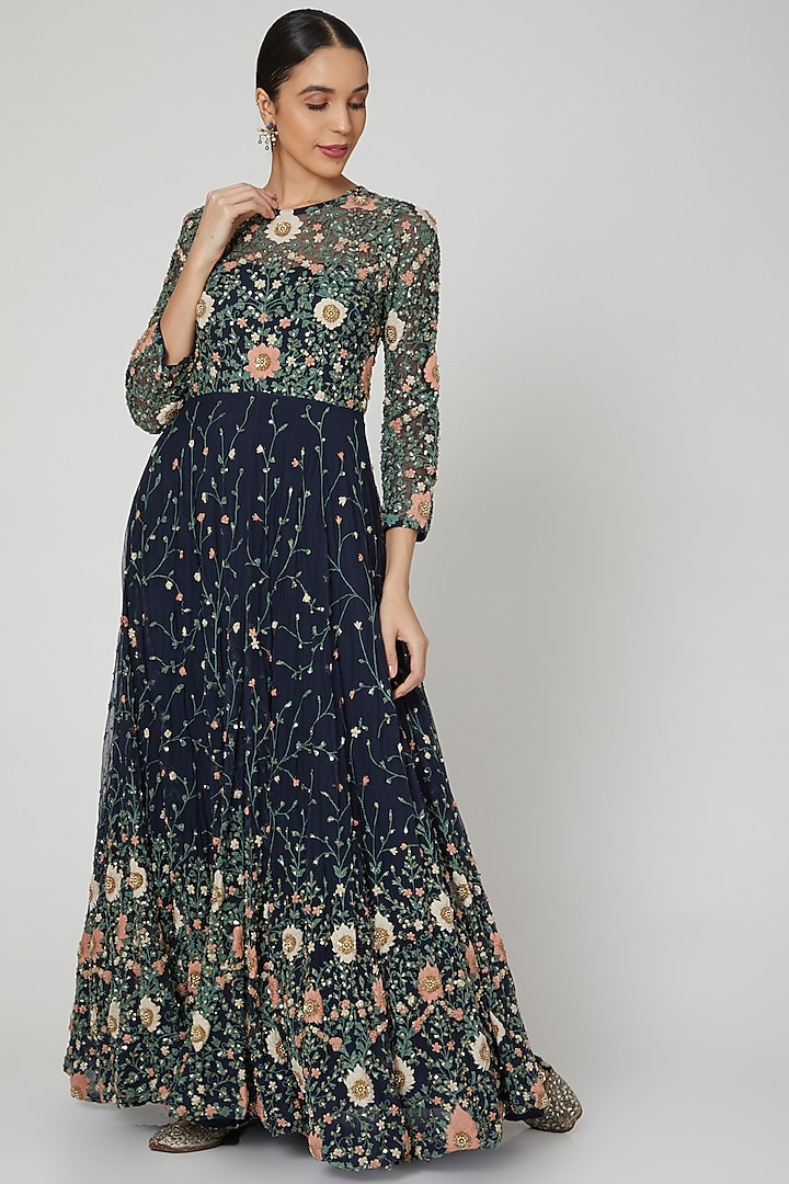 Midnight Blue Embroidered Gown by Garo