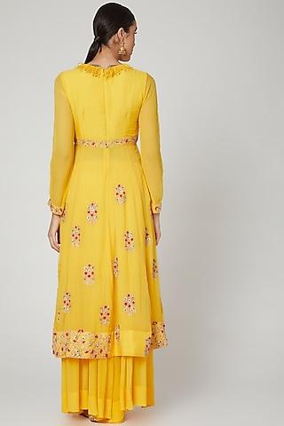 Yellow Embroidered Anarkali Set by Garo