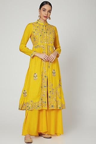 Yellow Embroidered Kurta Set by Garo