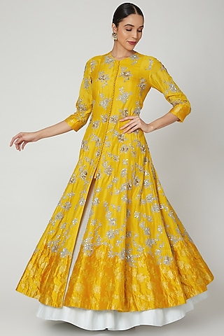 Yellow Sequins Embroidered Anarkali Set by Garo