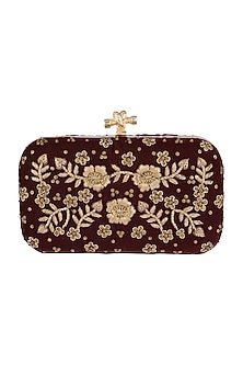 Maroon Embroidered Velvet Clutch by GRANDEUR