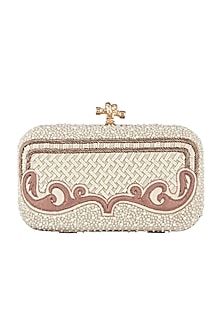 Ivory & Brown Checkered Embroidered Clutch by GRANDEUR