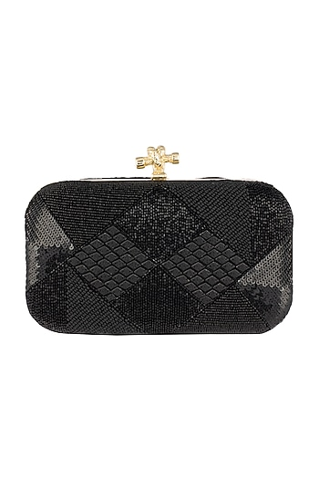 Black Geometric Embroidered Clutch by GRANDEUR
