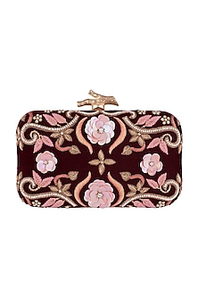 Maroon Embroidered Floral Clutch by GRANDEUR