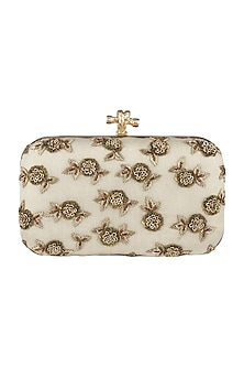 Ivory Shimmery Floral Embroidered Clutch by GRANDEUR