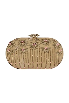 Beige Embroidered Floral Clutch by GRANDEUR