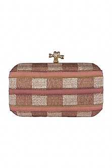 Peachy Pink Checkered Embroidered Clutch by GRANDEUR