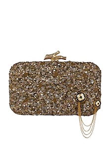 Gold Embroidered Clutch With 18Kt Gold Button & Metal Chain by GRANDEUR