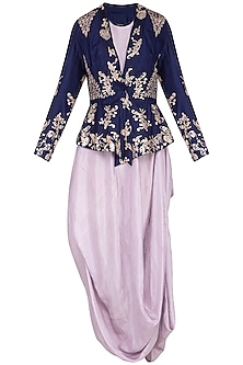 Bright mauve embroidered jacket with purple kurta and pants by Garo