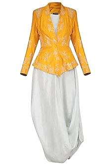 Mustard embroidered jacket with blush blue kurta and pants by Garo