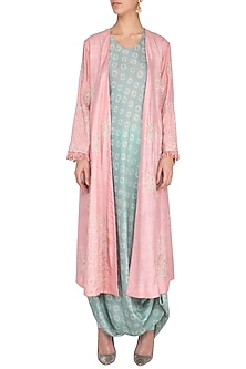 Dirty pink embroidered jacket with greyish blue drape and churidar by Garo