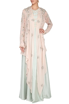 Pastel blue embroidered drape with overlayer kaftan and pants by Garo