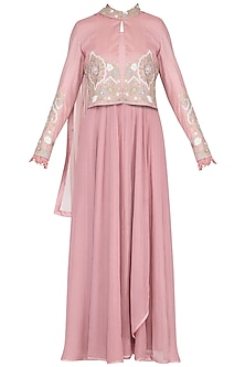 Onion pink embroidered kurta set with jacket by Garo
