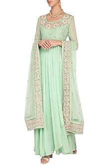 Pale blue embroidered kurta set by Garo