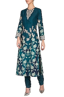 Peacock blue embroidered kurta with churidar pants by Garo