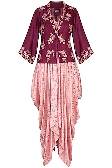 Wine embroidered overlayer jacket with pink kurta and pants by Garo