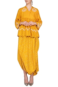 Mustard embroidered jacket with lemon drape and pants by Garo