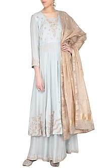 Blush blue embroidered kurta with gharara pants set by Garo